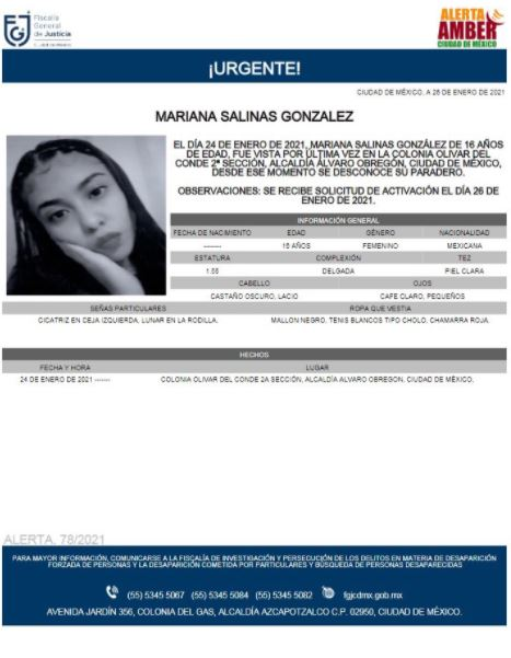 Activan Alerta Amber para localizar a Mariana Salinas González