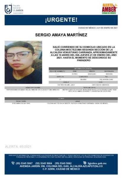 Activan Alerta Amber para localizar a Sergio Amaya Martínez