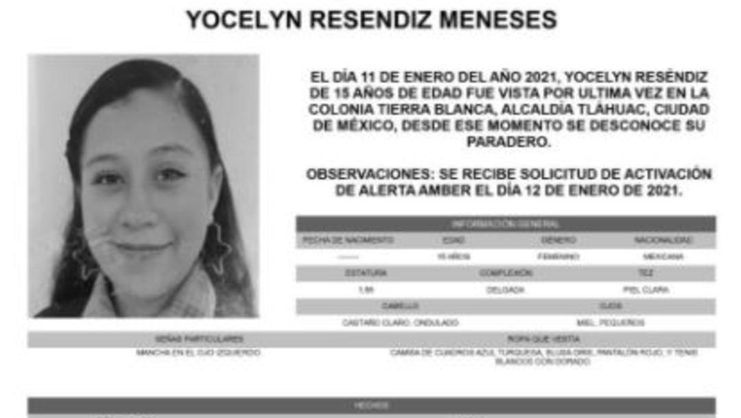 Activan Alerta Amber para localizar a Yocelyn Reséndiz Meneses.