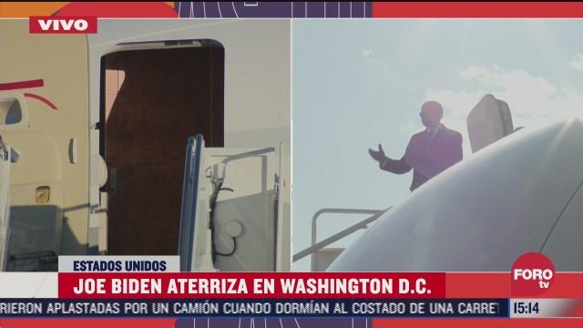 biden aterriza en perimetro del capitolio para ceremonia de posesion de poder