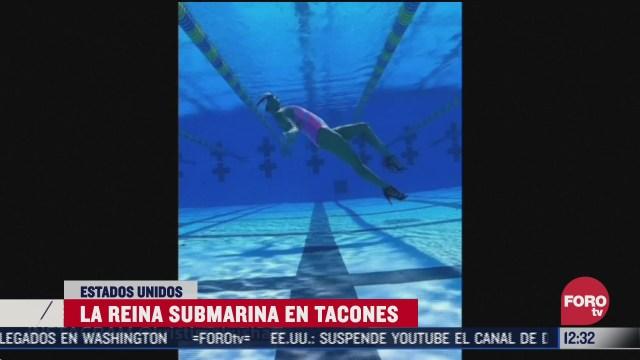 campeona de nado sincronizado muestra sus habilidades bajo el agua con tacones