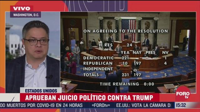 congreso de eeuu vota a favor de segundo juicio politico contra trump