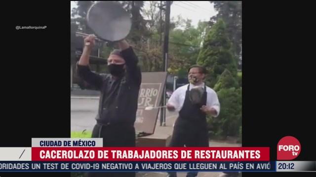 Restauranteros se manifiestan con cacerolas en CDMX