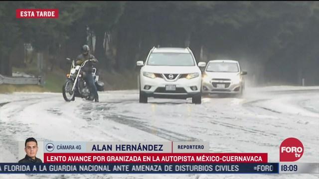 granizada cubre la autopista mexico cuernavaca
