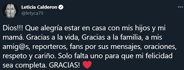 Leticia Calderón ya está en su casa tras haber sido hospitalizada por complicaciones con el COVID-19