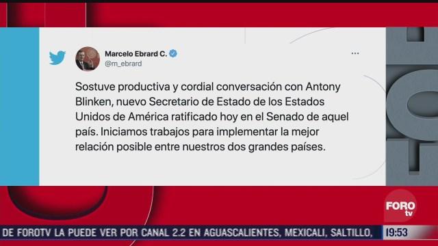 marcelo ebrard mantiene conversacion con nuevo secretario de estado de eeuu