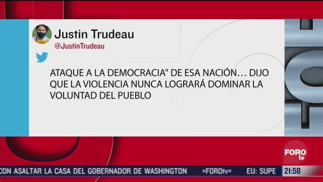 Líderes políticos se pronuncian sobre asalto en Capitolio