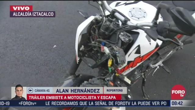 trailer embiste a motociclista en la alcaldia iztacalco cdmx