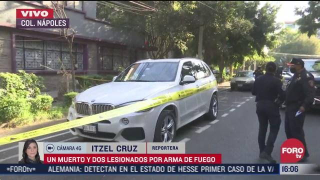 un muerto y dos lesionados por arma de fuego en colonia napoles cdmx