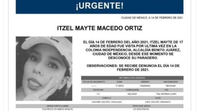 Activan Alerta Amber para localizar a Itzel Mayte Macedo Ortiz