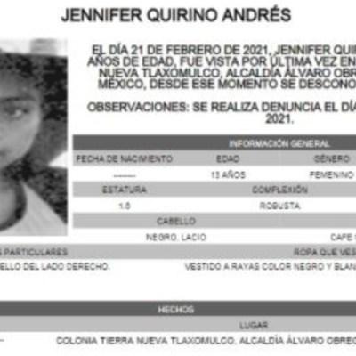 Activan Alerta Amber para localizar a Jennifer Quirino Andrés