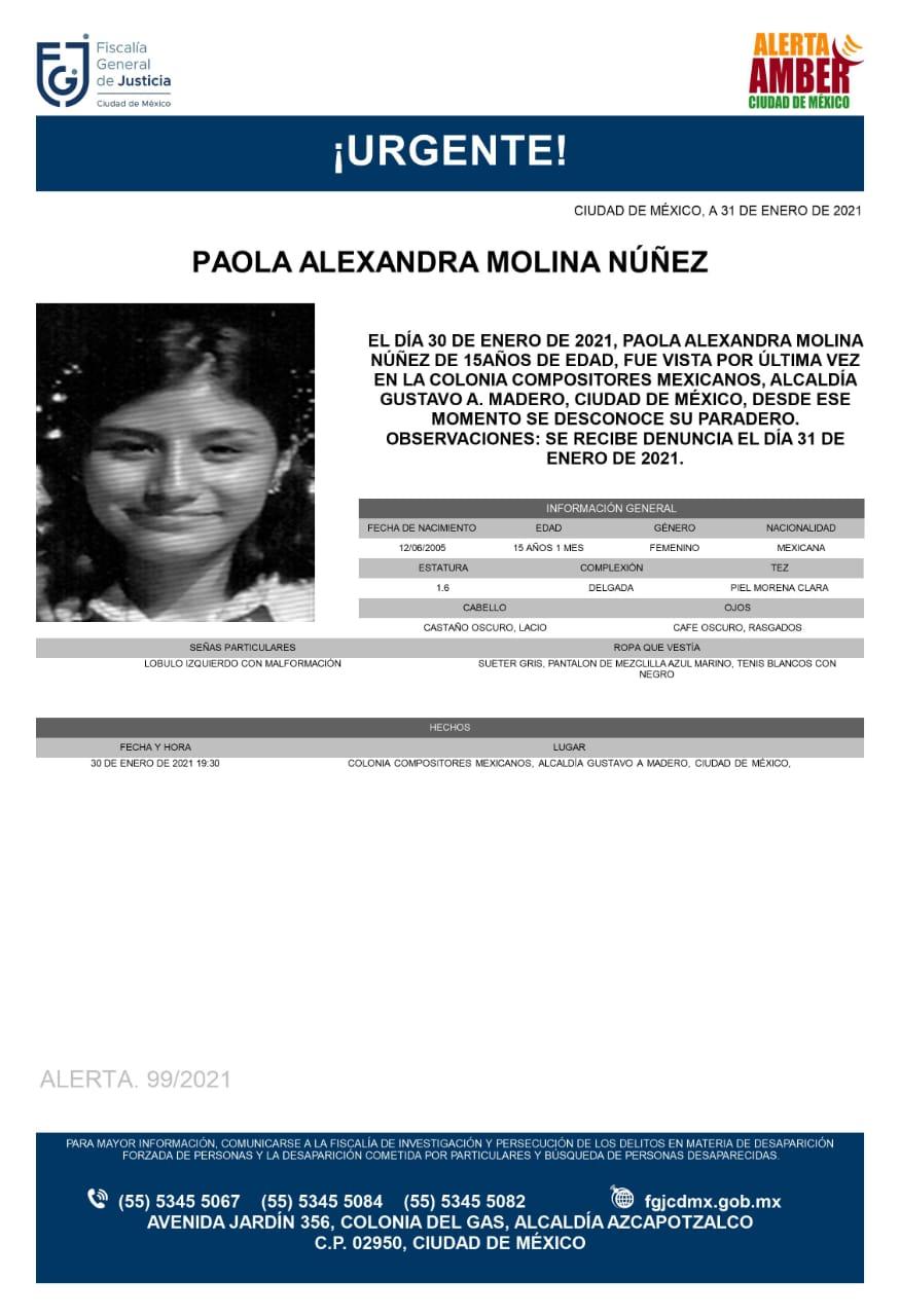 Activan Alerta Amber para localizar a Paola Alexandra Molina Núñez