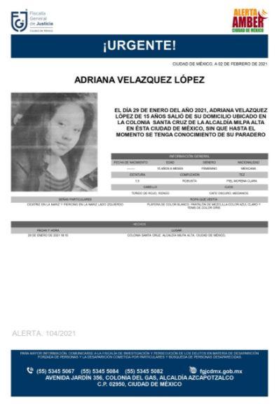 Activan Alerta Amber para localizar a Adriana Velázquez López