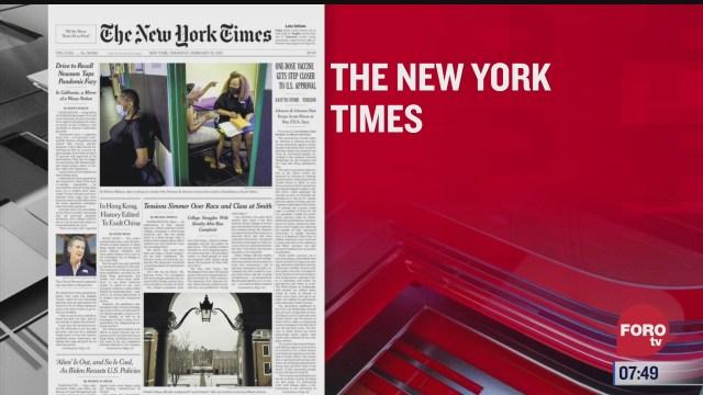 analisis de las portadas nacionales e internacionales del 25 de febrero del