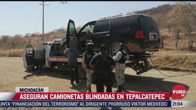 aseguran camionetas blindadas en tepalcatepec michoacan