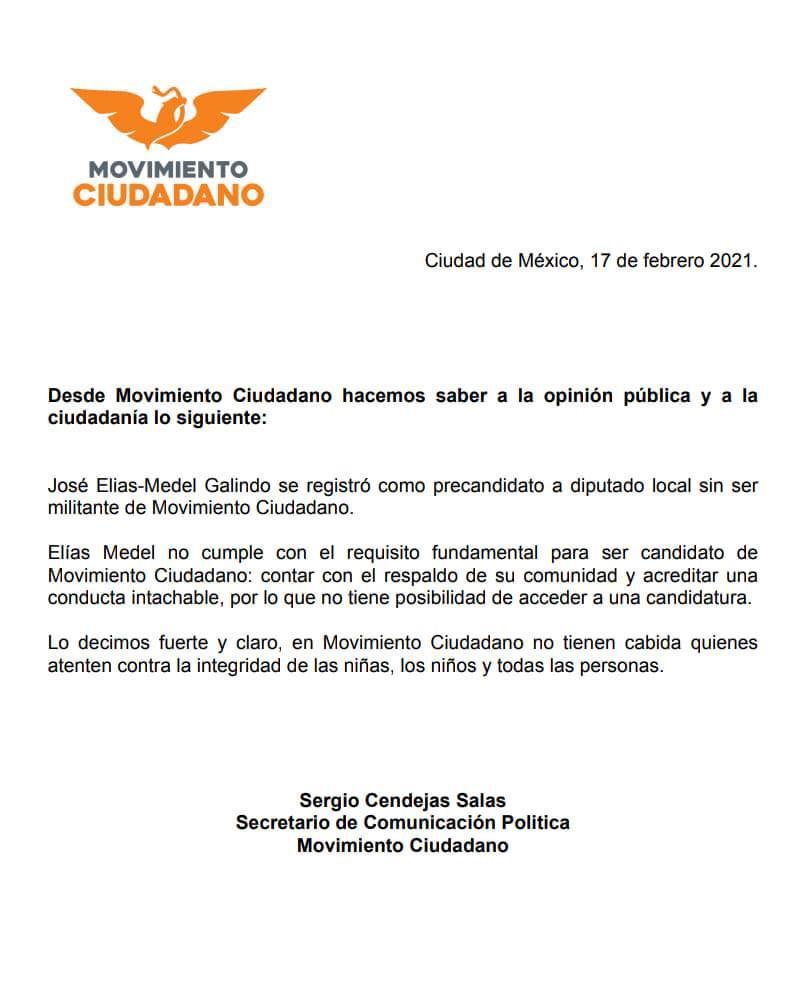 Comunicado de MC sobre retiro de apoyo a Medel Galindo
