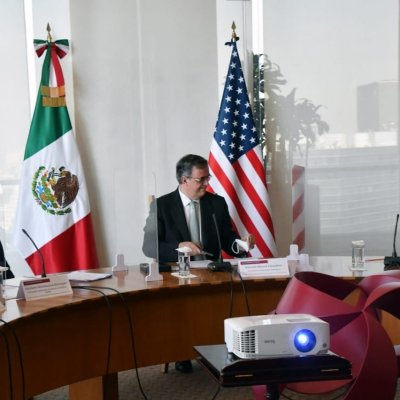 Ebrard durante encuentro virtual con Anthony Blinken