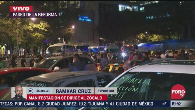 manifestantes provenientes de michoacan bloquean avenida paseo de la reforma