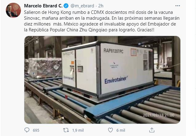 El sábado 20 de febrero llegan a México 200 mil vacunas COVID de Sinovac.