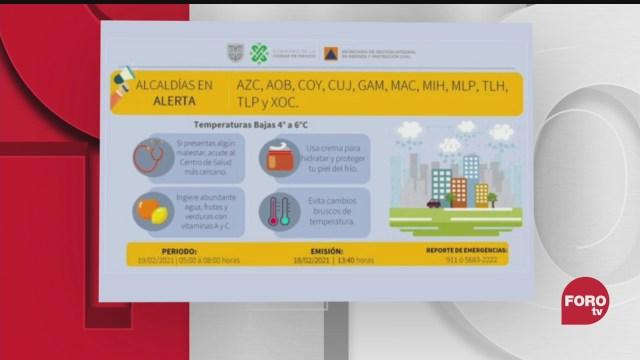 nueva alerta amarilla por bajas temperaturas en 11 alcaldias de cdmx