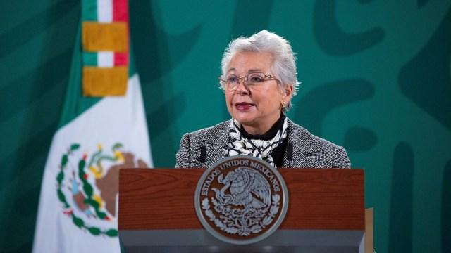 Olga Sánchez Cordero, secretaria de Gobernación, durante su participación en la conferencia mañanera