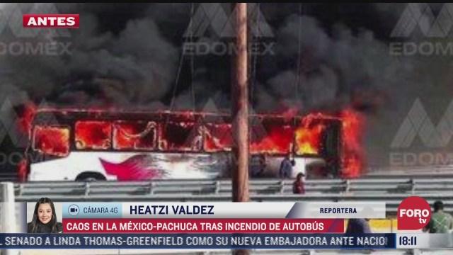 se incendia autobus de pasajeros en la mexico pachuca
