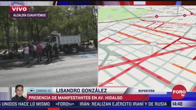 se registra manifestacion en avenida hidalgo de la cdmx