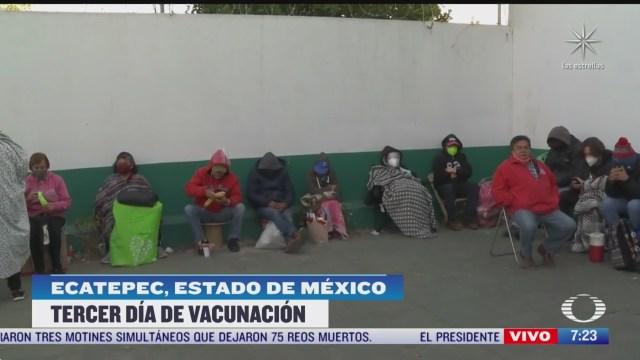 tercer dia de vacunacion contra covid 19 para adultos mayores en ecatepec estado de mexico