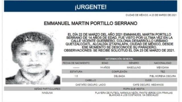 Activan Alerta Amber para localizar a Emmanuel Martín Portillo Serrano