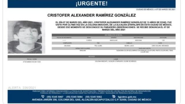 Activan Alerta Amber para localizar a Cristofer Alexander Ramírez González