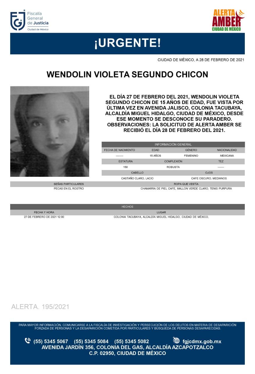 Activan Alerta Amber para localizar a Wendolin Violeta Segundo Chicón