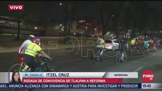 ciclistas en cdmx realizan rodada de convivencia de tlalpan a reforma