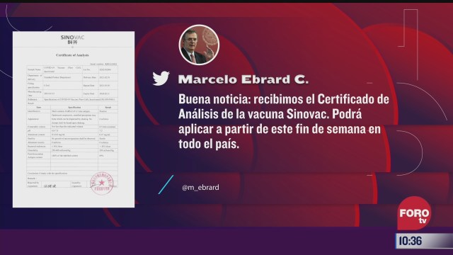 mexico recibio certificado de analisis de vacuna covid 19 de sinovac