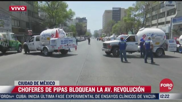 transportistas de pipas de gas bloquean av revolucion cdmx