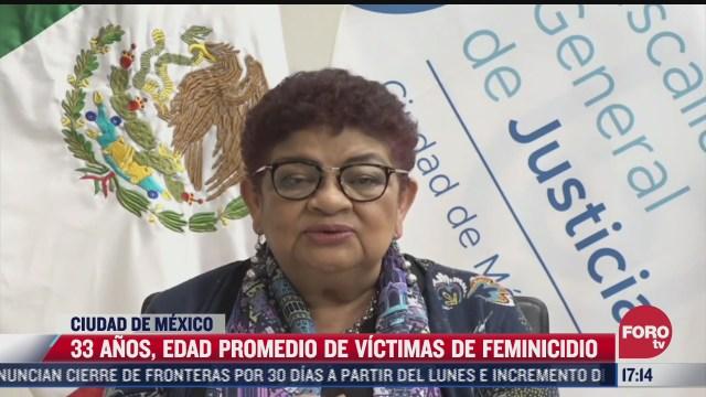 33 anos edad promedio de victimas de feminicidio en cdmx