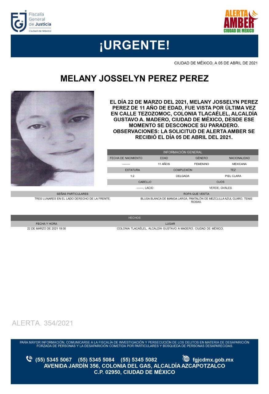 Activan Alerta Amber para Melany Josselyn Pérez Pérez