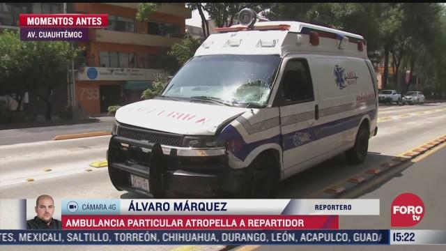 ambulancia atropella a repartidor en la avenida cuauhtemoc