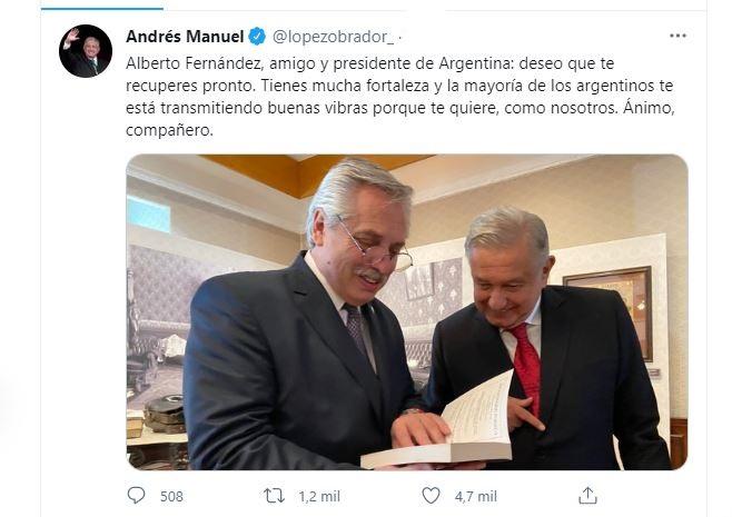 AMLO desea pronta recuperación al presidente de Argentina, Alberto Fernández