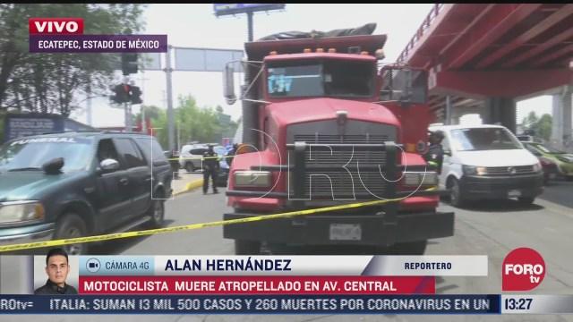 motociclista muere atropellado en avenida central estado de mexico