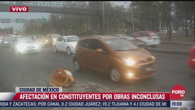 obras inconclusas generan afectacion vial en constituyentes