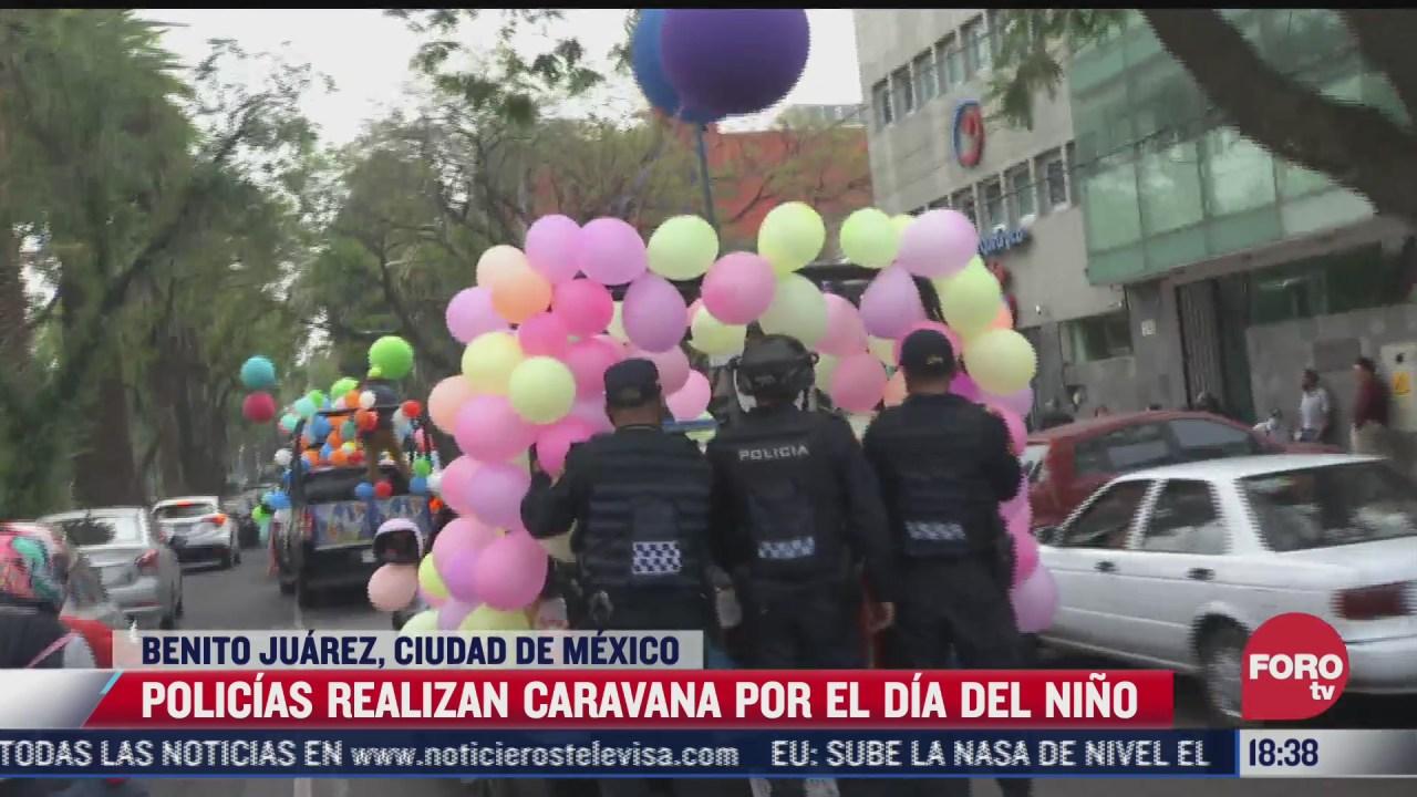 policias realizan caravana para celebrar el dia del nino