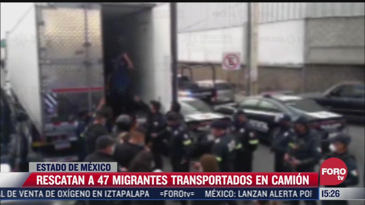 rescatan a 47 migrantes en un camion en edomex