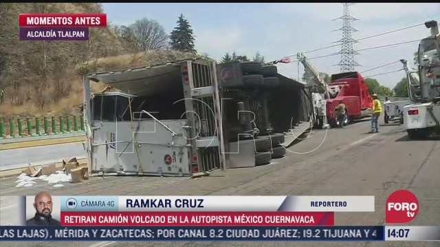 retiran trailer cargado con medicamentos en la autopista mexico cuernavaca