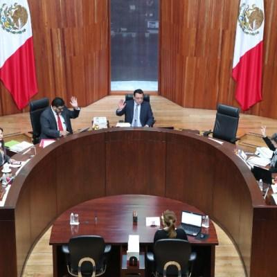 Fotografía que muestra una sesión en la Sala Superior del Tribunal Electoral del Poder Judicial de la Federación.