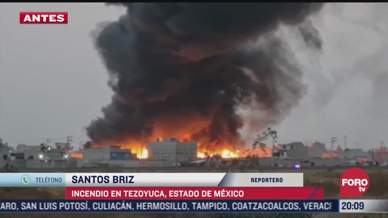 se registra fuerte incendio en tezoyuca estado de mexico