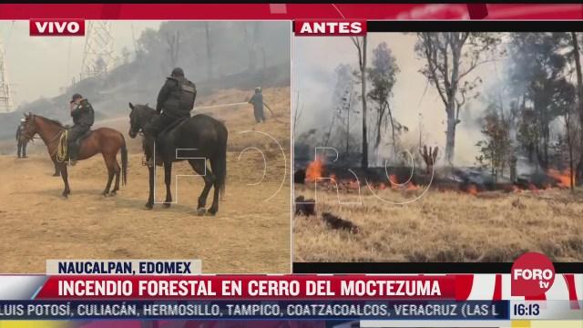 se registra incendio forestal en el cerro de moctezuma en naucalpan