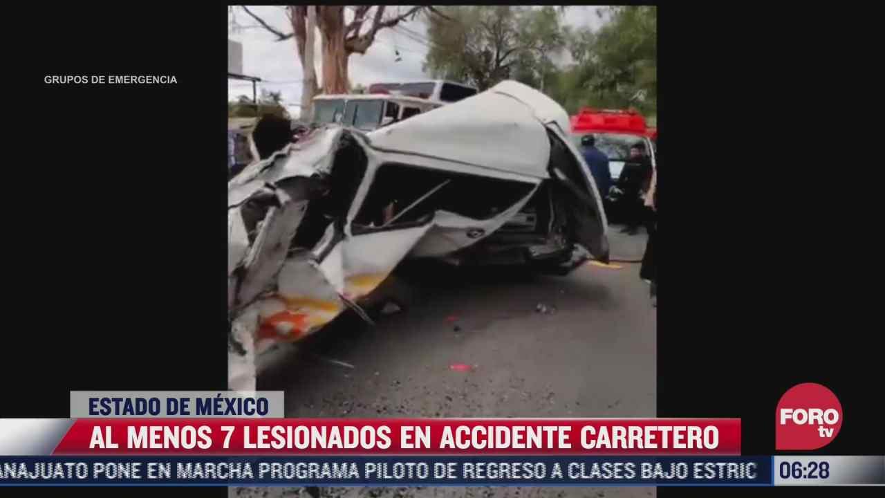 accidente carretero deja 7 lesionados en zumpango edomex
