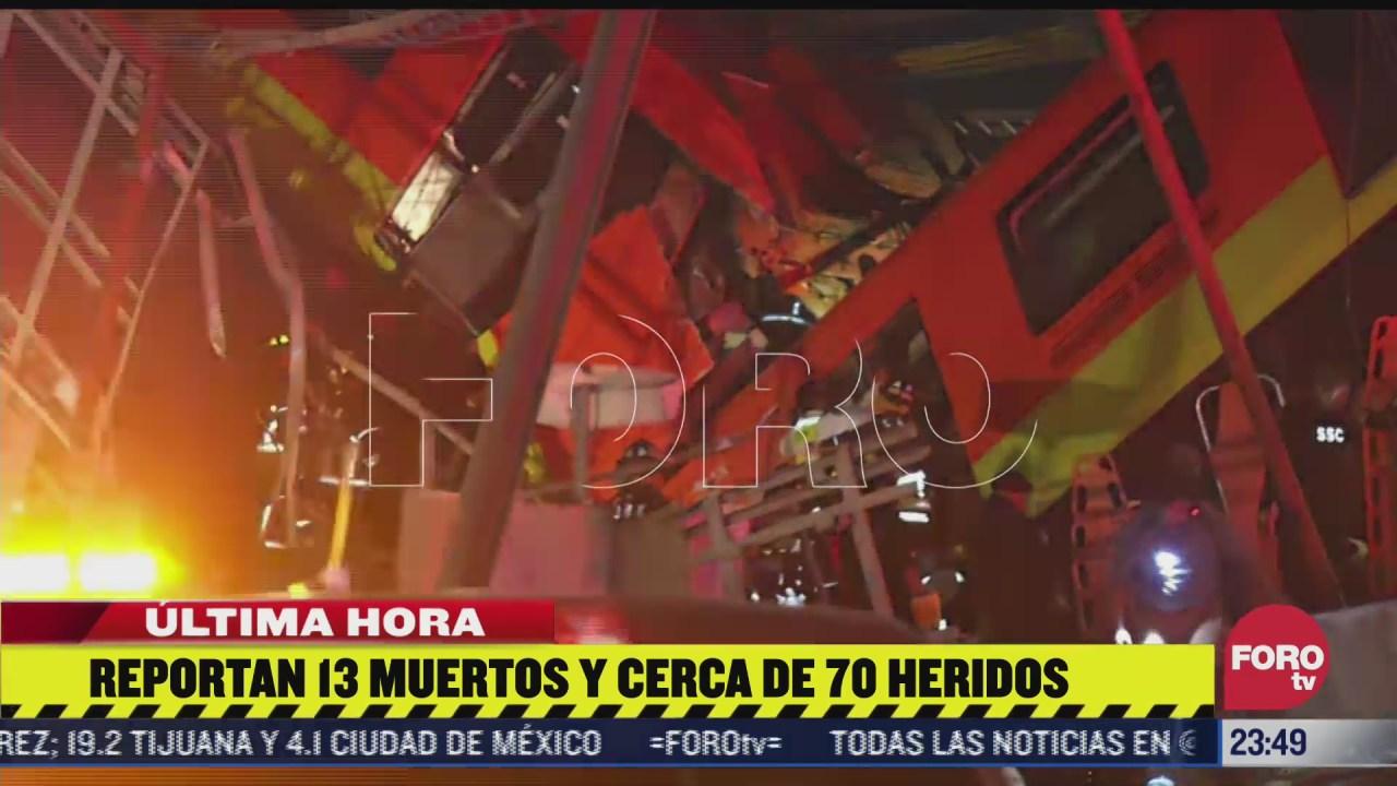 al menos 13 muertos y 70 lesionados tras accidente en metro cdmx