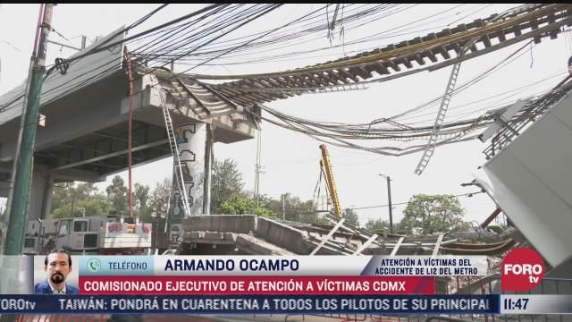 armando ocampo ninguna familia afectada por accidente de l12 del metro quedara desamparada