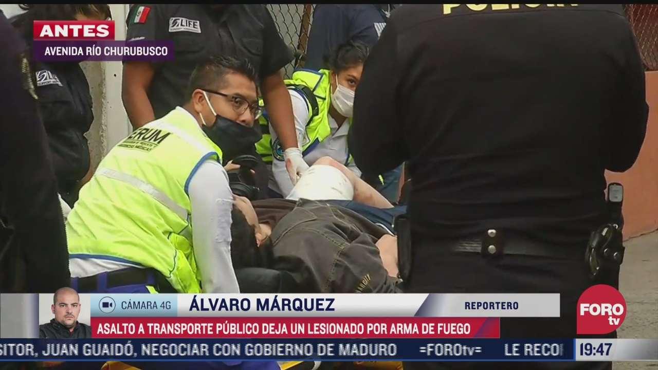 asalto a transporte publico deja un lesionado por arma de fuego